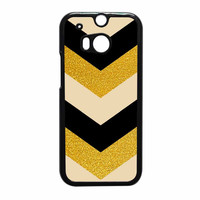 Chevron Classy Black And Gold Printed HTC One M8 Case