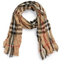Men's Burberry Check Merino Wool & Cashmere Scarf