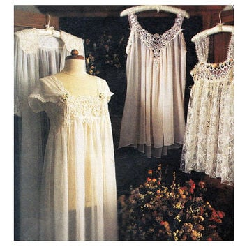 80s LINGERIE PATTERN SEXY Sheer Robe Sheer Teddy Babydoll Nightgown McCalls 2059 Bust 30.5 31.5 XSmall UNCuT Vintage Womens Sewing Patterns