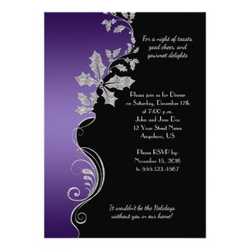 Elegant Purple Silver Holly Christmas Party Card