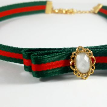 Tri-Color Ribbon Choker Necklace