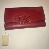 MICHAEL KORS Florence MK Logo Acorn Leather Wallet Cherry $168