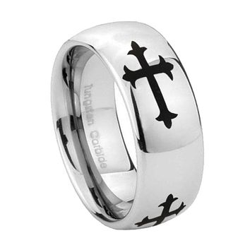 8mm Christian Cross Religious Mirror Dome Tungsten Carbide Engagement Ring