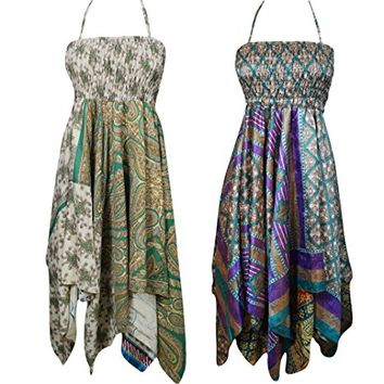Mogul Interior Lot Of 2 Raven Womens Sundress Handkerchief Hem Recycled Sari Beach Resort Wear Halter Dress S/M