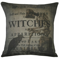 Vintage French Pillow Halloween Witches Skeleton Antique Document Burlap Cotton Throw Pillow- Ships FREE to US and Canada