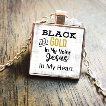 Black & Gold In My Veins Jesus In My Heart Silver Pendant Necklace Jewelry