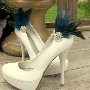 Bridal Feathered Shoe Clips - set of 2 - Sparkling Crystal Rhinestone Accents -dark turquoise and dark blue