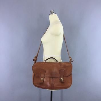 Vintage 1970s Coach Musette Bag / 70s Leather Coach Carrier / Crossbody Messenger / Br