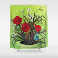 Pickings of Poppies and a Pansy with a  POP of COLOR   Shower Curtain by  #RokinRonda