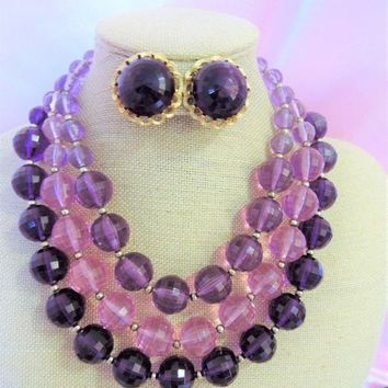 ON SALE Very Pretty Vintage Purple 3 Strand Beaded Necklace Earring Demi Parure Jewelry Set Collectible Retro Rockabilly Old Hollywood Regen