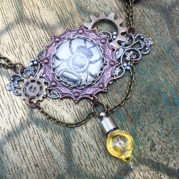 Steampunk Bee Honey Vial Necklace