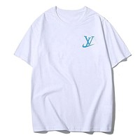 LV x Nike New Popular Summer Women Men Casual Round Collar T-Shirt Top White