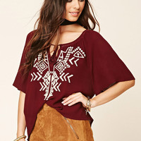 Geo-Embroidered Gauze Top