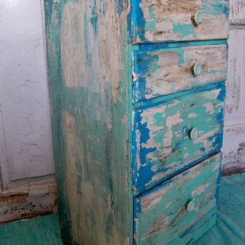 Beach cottage distressed table with drawers aqua blue up cycled furniture by Anita Spero