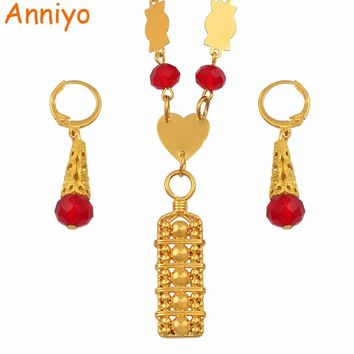Anniyo Micronesia Jewelry sets Colorful Stone Necklace Earrings Round Beads Chain Necklaces Marshall Jewellery Guam #135406