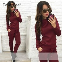 DevenGee Spring Autumn Tracksuits For Women Two Piece Set Sweatshirt Top and Pants New 2018 Female Sporting 2 Piece Suit Set