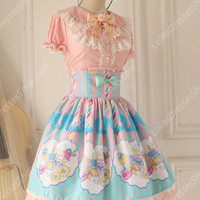 Sweet Party Beautiful Tale High waisted fishbone Knot Lace Lolita Skirt