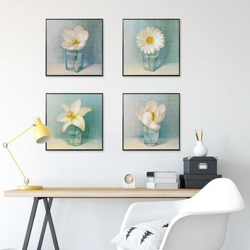 NEWBILITY Nodic Fresh Flower Painting 4Pcs/Set Living room Posters Kitchen Decoration for Dining Room Wall Art Prints Bedroom