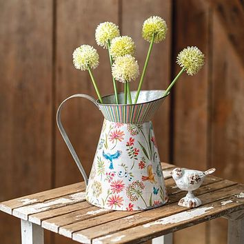 Tall Metal Pitcher with Floral Design