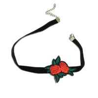 Trendy Embroidered Rose Flower Chokers Necklaces black Chokers Unique  necklace for Women jewelry NL2111
