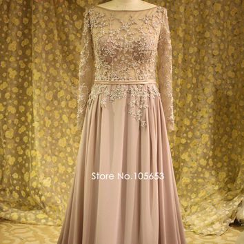Real Vintage Muslim Long Sleeves Evening Dress Plus Size Long Beaded Applique Lace Bridesmaid Dress Mother of Bride Dresses A332