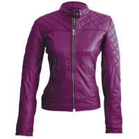 Women Purple Quilted Leather Jacket