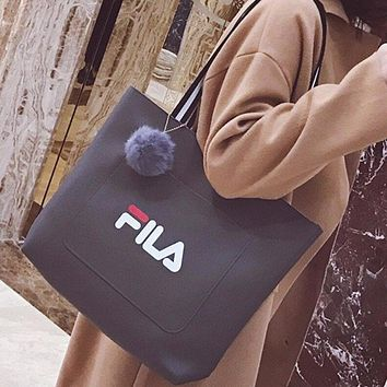 FILA New Fashion Women Casual Shopping Letter Print Pu Leather Shoulder Bag Handbag Black