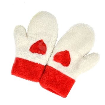 Fashion Women  Girls Warm Plush Gloves Full Finger Mittens Cute Heart Love Gloves