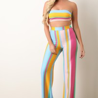 Pastel Striped Bandeau Top With Palazzo Pants Set