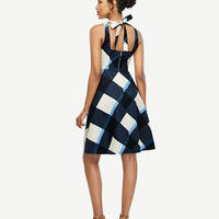 Gingham Tie Back Flare Dress | Ann Taylor