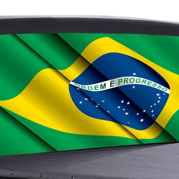 Brazilian Flag Waving Universal Truck Rear Window 50/50 Perforated Vinyl