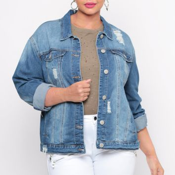 Plus Size Distressed Sandblast Denim Jacket - Medium Wash