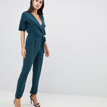 ASOS DESIGN wrap jumpsuit with self belt | ASOS