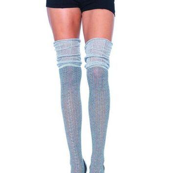 DCCKLP2 Acrylic pointelle over the knee scrunch sock in GREY