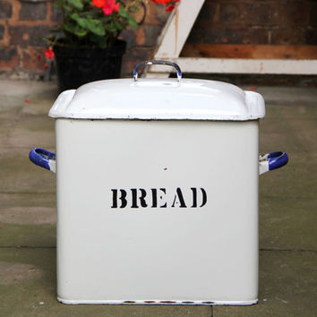 Giant Bread Bin - 46cm Tall Oversized Vintage Enamel Bread Bin with Blue Handles and Black Lettering