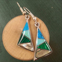 Abalone and Turquoise Triangle Earrings - Fair Trade