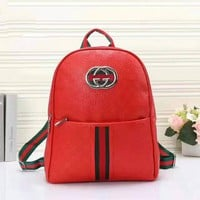 Gucci Women Leather Casual Shoulder SchoolBag Satchel Handbag Backpack Red
