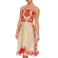 Organza Midi Dress With Floral Embroidery