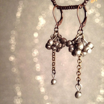 Dangle Earrings. Handmade Jewelry. Long Silver Balls Earrings. Boho Chic Jewelry. Tribal Fusion Earrings. Vintage Jewelry.