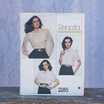Vintage Blouse Sewing Pattern Vogue 2185, Renata Vogue French Boutique Loose-Fitting Tie Collar Boulse Front Tucks Chiffon Size 14 Women