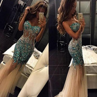 Sparkly Beaded Crystal Blingbling Dress 2016 Sexy Mermaid Sheer See-through Long Prom Gowns Tulle Floor Length  Pageant Dress