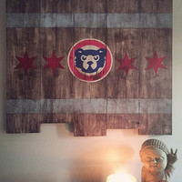 Chicago Cubs Large Wooden Stained Flag; Handpainted; Chicago Flag; Baseball Decor; Mancave; Wrigley Field; Wood Sign; Wood Wall Art; Cubbies