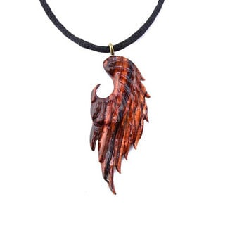 Unisex Angel Wing Necklace, Angel Wing Pendant, Wing Pendant, Wood Wing Pendant, Mens Wing Necklace, Hand Carved Pendant, Angel Wing Jewelry