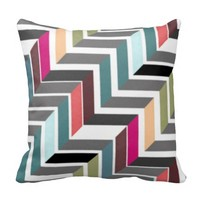 Multicolor Chevron Print Throw Pillow
