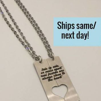 Long Distance Friendship, Long Distance Relationship, Friendship Necklace, Long Distance Necklace, Engraved Necklace, Best Friend Necklace