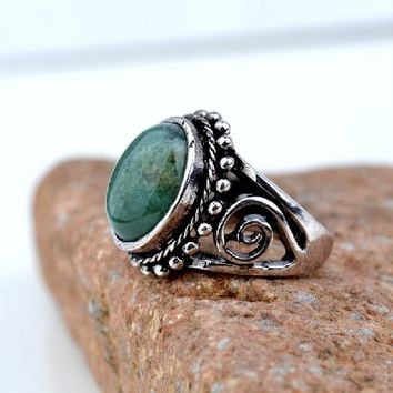 Yazilind Vintage Antique Oval Cut Green Jasper Retro Silver Plated 6.5 8 9 Ring Women