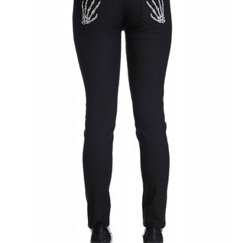 Banned Apparel Women's Skeleton Hands Black Skinny Jeans