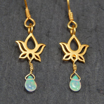 African opal earrings, gold earrings, lotus earrings, dangle earrings, African opal jewelry
