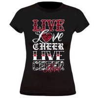 Graphic Live Love Cheer Fitted Black T-Shirt with REd Glitter
