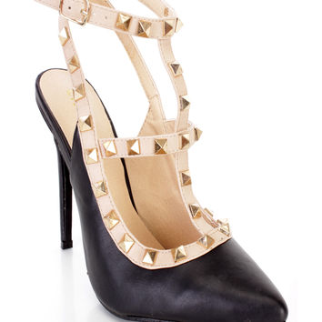 Black Studded Strappy Single Sole Heels Faux Leather